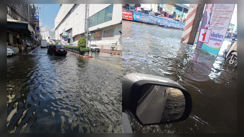โซเชียลฯ แห่แชร์ภาพน้ำทะเลหนุนสูงท่วมถนน ทำรถติดเส้นสำโรงสาหัส