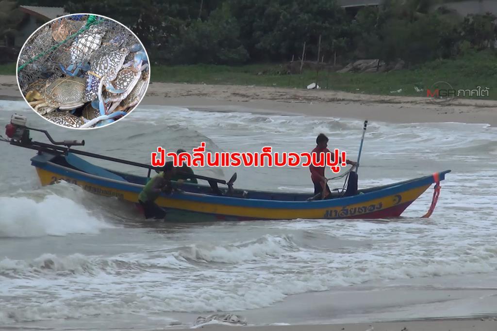 ชาวประมงฝ่าคลื่นลมเก็บอวนปูกลางทะเล อุตุใต้เตือนอ่าวไทยตอนล่างฝนหนัก-คลื่นแรง