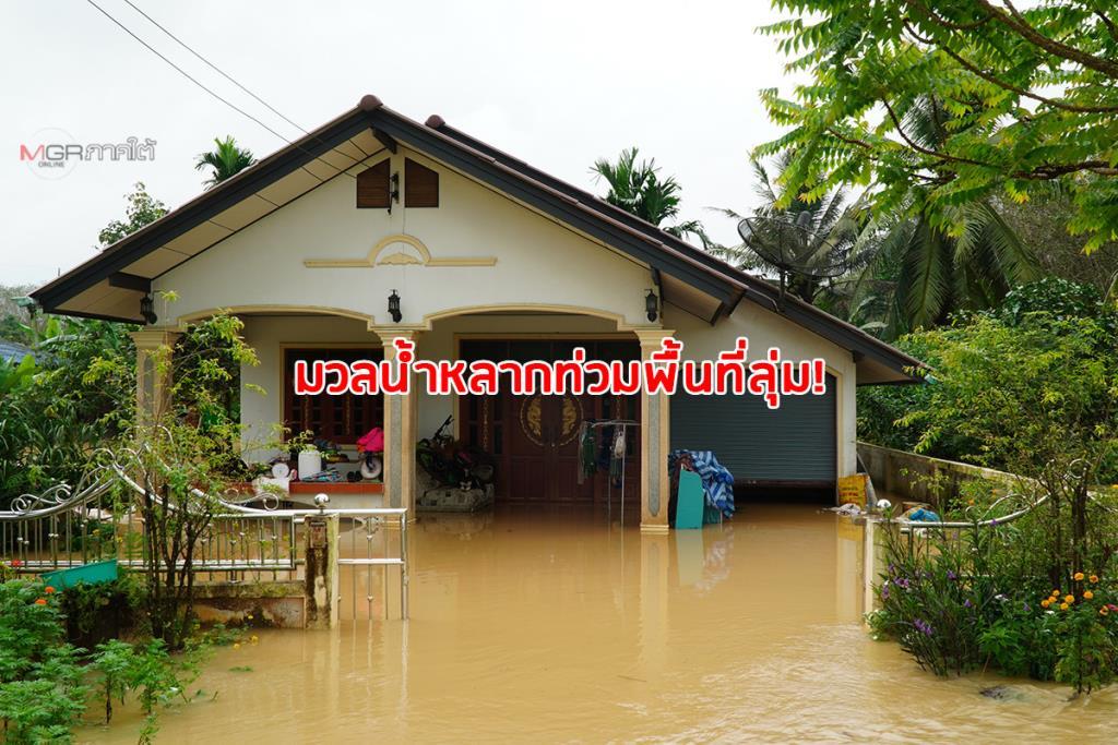 มวลน้ำป่ายังหลากท่วมพื้นที่ลุ่มใน จ.พัทลุง ต่อเนื่อง แจ้งเตือนประชาชนเตรียมพร้อมรับมือ