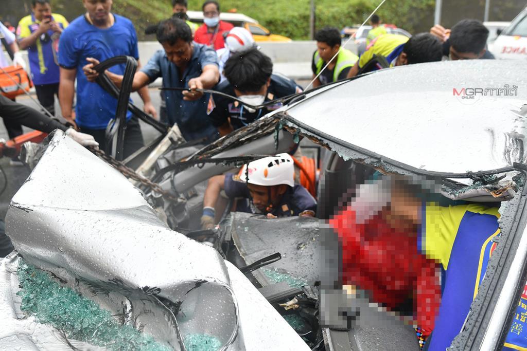 สาวใหญ่เจ็บหนักขับเก๋งชนท้ายรถ 18 ล้อ ขณะจอดริมถนนเพชรเกษมพัทลุง-ตรัง
