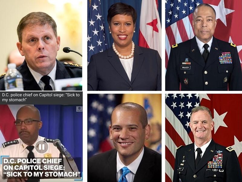 ผู้เจรจา Conference Call 6 ฝ่าย แถวบน จากซ้ายไปขวา หัวหน้าตำรวจแคปิตอลฮิล - นายกเทศมนตรีวอชิงตัน ดี.ซี. - ผบ.ดี.ซี.เนชันแนลการ์ด แถวล่าง จากซ้ายไปขวา ผบ.ตำรวจวอชิงตัน ดี.ซี. - ผอ.หน่วยงานความมั่นคงแห่งมาตุภูมิของวอชิงตัน ดี.ซี. - ผอ.คณะเสนาธิการกองทัพบก
