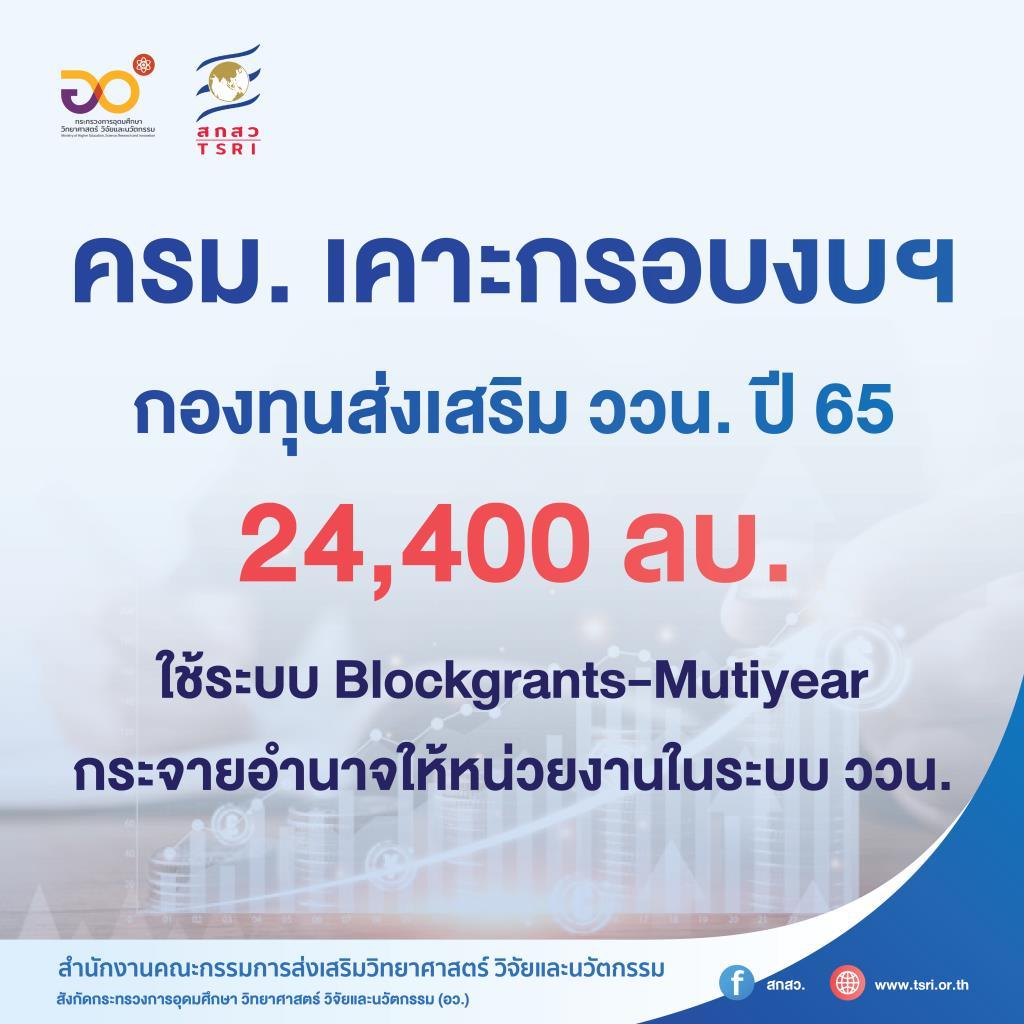 ครม.เคาะแล้ว!  งบฯกองทุนส่งเสริม ววน. 24,400 ลบ. ใช้ Blockgrants - Mutiyear กระจายอำนาจหน่วยงานในระบบ