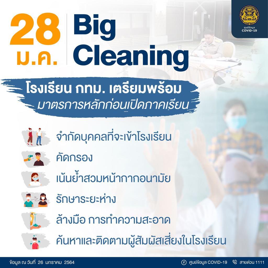 ดีเดย์ 28 ม.ค. กทม. Big Cleaning โรงเรียนสังกัดกรุงเทพมหานคร เตรียมพร้อมรับเปิดเรียน