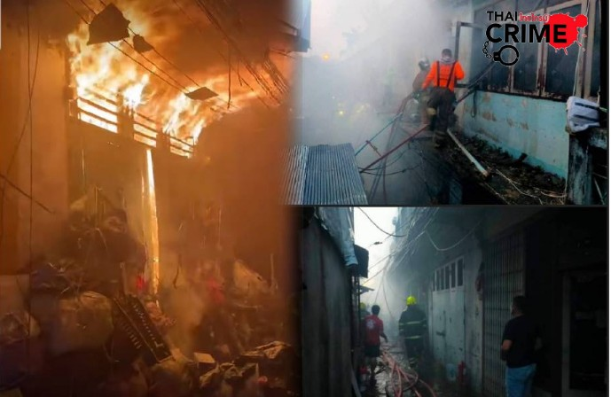 สลด! ไฟไหม้ตึกแถวค้าของเก่า 2 แม่ลูกดับคากองเพลิง