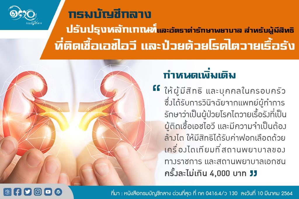 บัญชีกลาง ปรับอัตราค่ารักษาผู้มีสิทธิที่ติดเชื้อHIVและไตวายเรื้อรัง เริ่ม15มี.ค.64