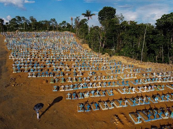 บราซิลยังตายเป็นเบือ!โควิดคร่าชีวิตวันเดียวเกิน3พันราย ศพกองเกลื่อนทางเดินโรงพยาบาล