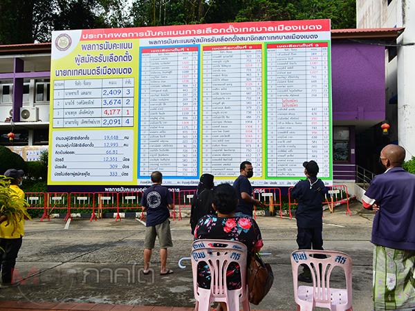 ชาวเบตงแห่ดูผลเลือกตั้งนายกเทศมนตรีเมืองเบตง หลังการนับคะแนนอย่างไม่เป็นทางการ