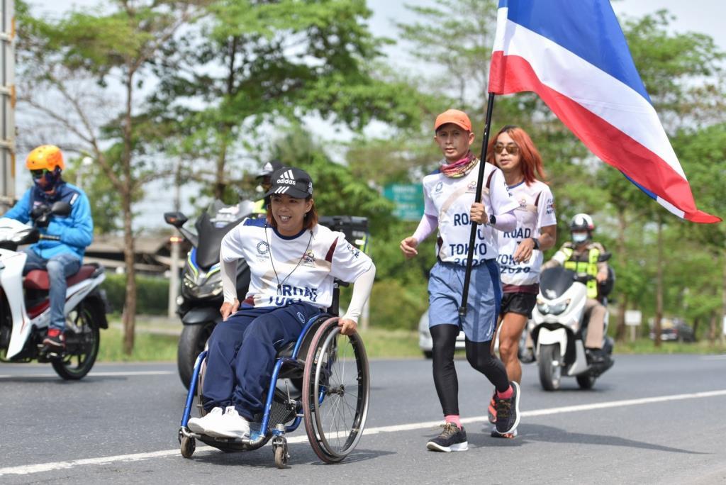 นักกีฬาวีลแชร์ ร่วมวิ่งผลัดธงชาติไทย ไปโอลิมปิก วันที่ 9