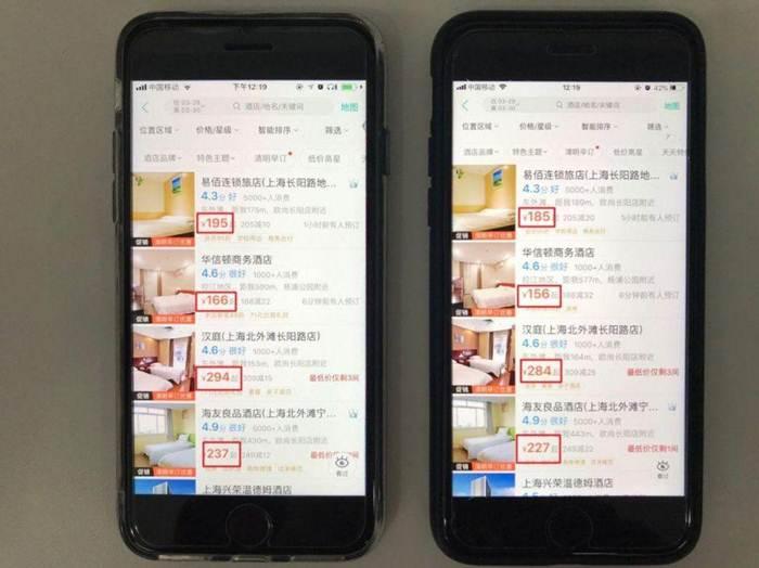 ภาพแสดงแอปจองห้องพักโรงแรมแห่งหนึ่ง ผู้บริโภคทดสอบใช้โทรศัพท์มือถือสองเครื่องในการจองห้องพักแบบเดียวกัน โดยเครื่องหนึ่งเป็นบัญชีที่ใช้บริการประจำ อีกเครื่องเป็นบัญชีใหม่  ผลปรากกฎว่า บัญชีที่ใช้ประจำได้เสนอราคาที่แพงกว่า (ภาพจาก ruanwenclass.com)