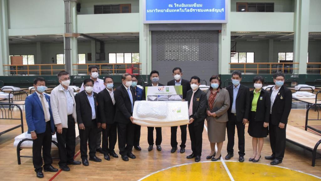 ปลัดอว. เปิดโรงพยาบาลสนาม มทร. ธัญบุรี พร้อมมอบที่นอนยางพารา เพื่อรองรับผู้ป่วยโควิด-19