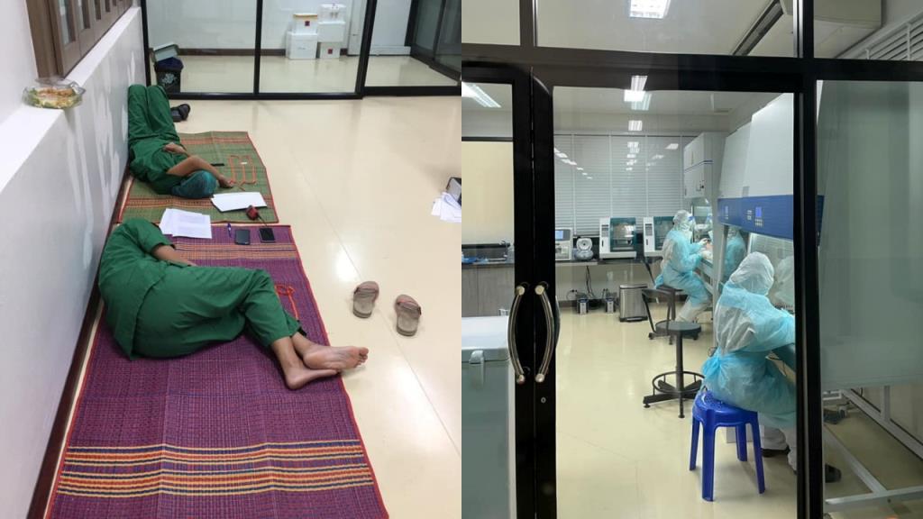 """ภาพเบื้องหลังห้องตรวจเชื้อโควิด-19 หมอทำงาน 20 ชั่วโมงต่อวัน """"อ่อนล้าไปบ้าง แต่ไม่ท้อถอย"""""""