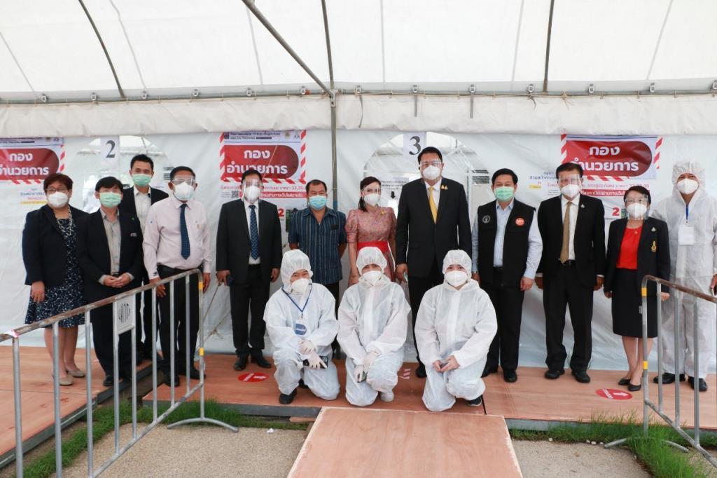 จับกัง 1 รุดให้กำลังใจ จนท.ตรวจโควิด-19 ที่สนามไทย-ญี่ปุ่น ดินแดง ก่อนปิดศูนย์ชั่วคราว  เปิดใหม่ 5-11 พ.ค.นี้