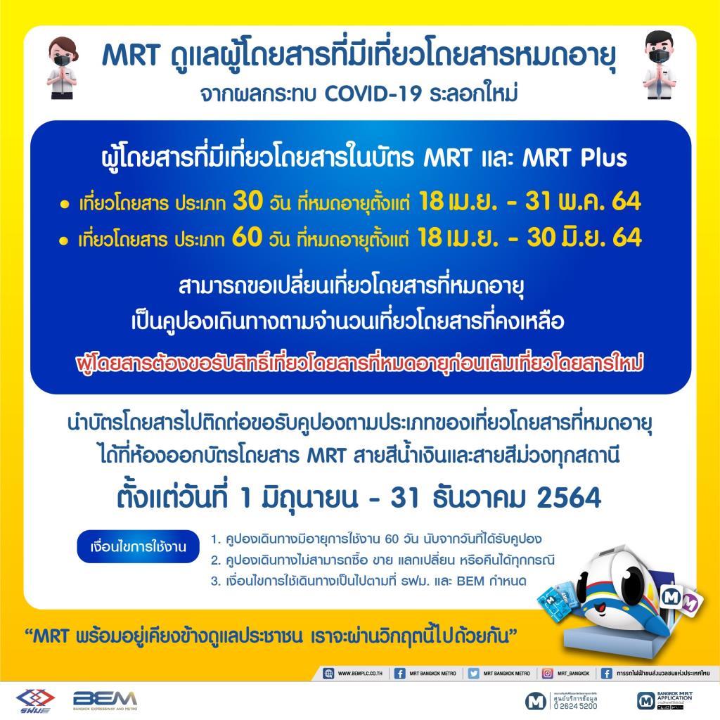 MRTเยียวยาเที่ยวโดยสารหมดอายุ จากผลกระทบโควิด