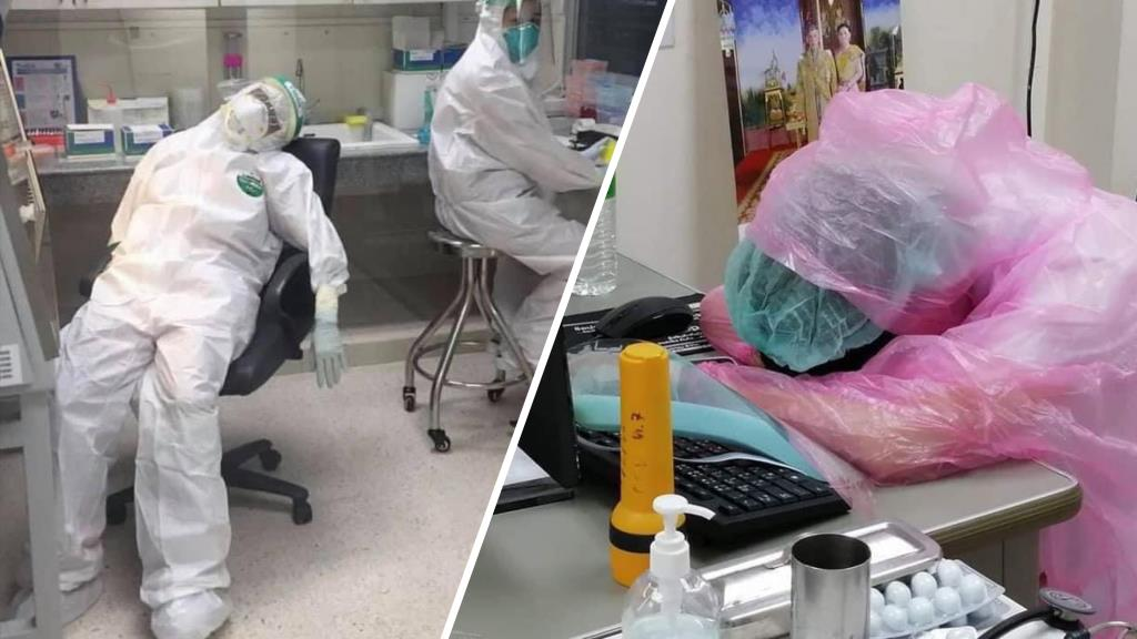 เผยสภาพบุคลากรการแพทย์ เหนื่อยหนักรับมือโควิด 19 นอนหลับทั้งชุด PPE