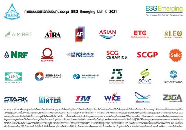 ไทยพัฒน์ เปิดรายชื่อหุ้นกลุ่ม ESG Emerging ปี 64 พร้อมเผยรายชื่อ 15 หุ้นคงทน (Durable Stocks) ฝ่าโควิด