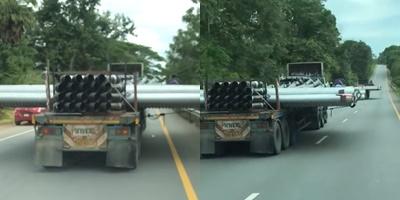 ผวา! เผยนาทีรถพ่วง 2 คัน บรรทุกท่อขวางถนนยาว 2-3 เมตร แถมวิ่งทางไกล ชุมพร-สงขลา (ชมคลิป)