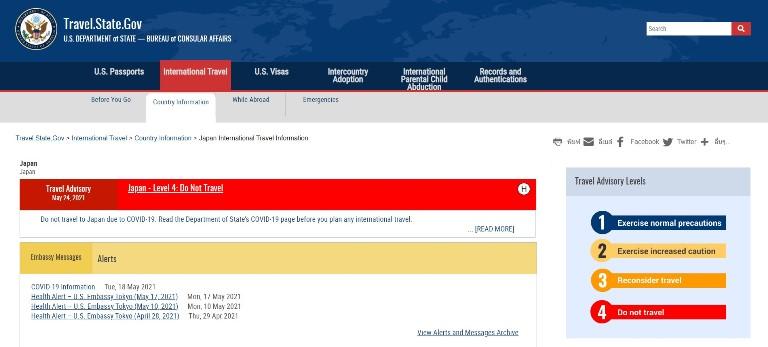 สหรัฐให้ใบแดงเตือนการเดินทางมาญี่ปุ่นระดับสูงสุด ส่วนไทยเพิ่มเป็นใบเหลือง