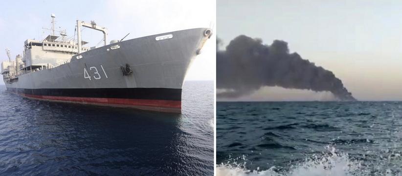 ไฟไหม้เรือขนาดใหญ่สุดของ 'กองทัพอิหร่าน' ก่อนจมลงในอ่าวโอมาน