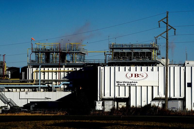 โรงงานแห่งหนึ่งในสหรัฐฯ ของ เจบีเอส ที่เมืองเวิร์ธทิงตัน รัฐมินนิโซตา (ภาพจากแฟ้มถ่ายเมื่อ 28 ต.ค. 2020)