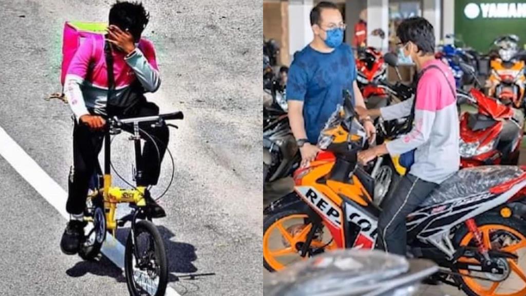 หนุ่มฟู้ดแพนด้าใจสู้! ยืมจักรยานเพื่อนขี่ส่งอาหาร ล่าสุดมีคนใจบุญซื้อ มอ'ไซค์ให้แล้ว
