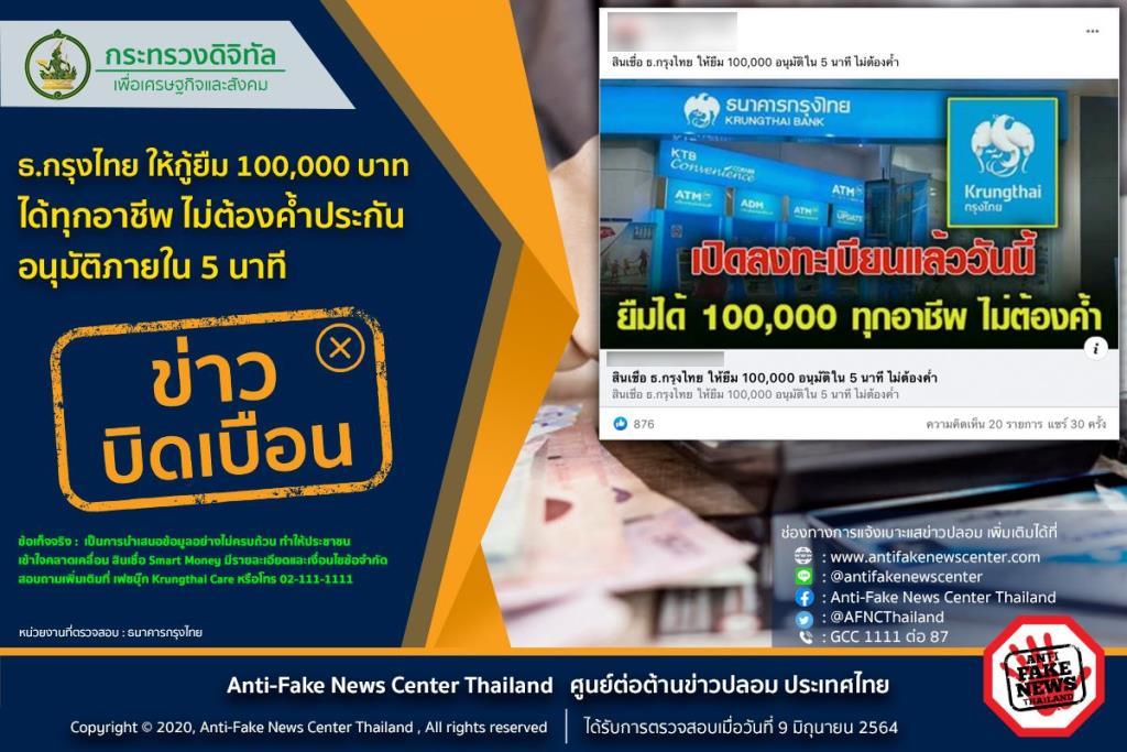 ข่าวบิดเบือน! ธ.กรุงไทย ให้กู้ยืม 100,000 บาท ได้ทุกอาชีพ ไม่ต้องค้ำประกัน อนุมัติภายใน 5 นาที