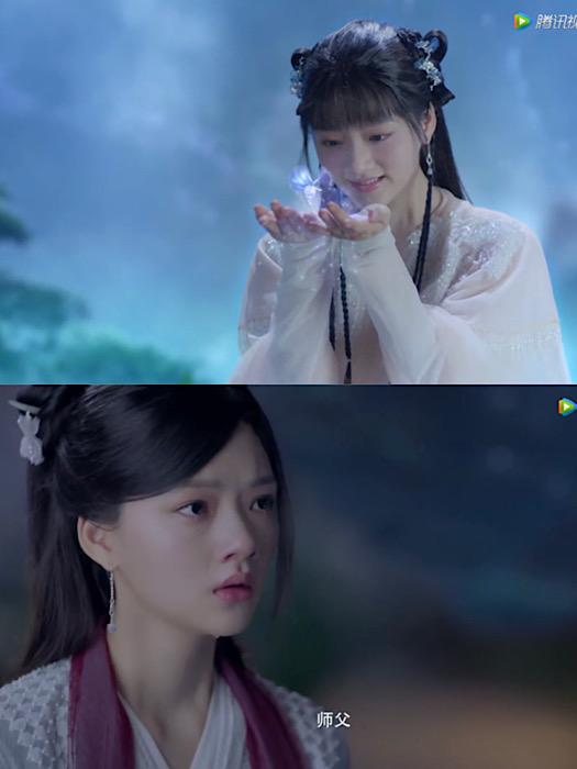 ความเปลี่ยนแปลงของตัวละคร จูเหยียน ที่รับบทโดย เริ่นหมิ่น ในสองช่วง