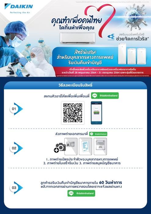 """""""ไดกิ้น"""" เปิดตัวโปรโมชั่น """"คุณทำเพื่อคนไทย ไดกิ้นทำเพื่อคุณ""""  มอบอากาศสะอาดด้วยเทคโนโลยี """"สตรีมเมอร์"""" ช่วยยับยั้งไวรัสโคโรน่าสายพันธุ์ใหม่"""