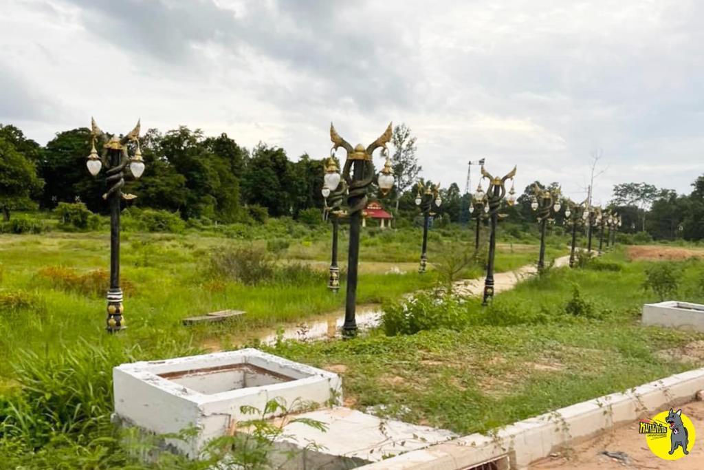 เจออีกแห่ง! เสาไฟประติมากรรมพญานาค ในสวนสาธารณะ จ.มุกดาหาร ถูกทิ้งรกร้างไร้ประโยชน์