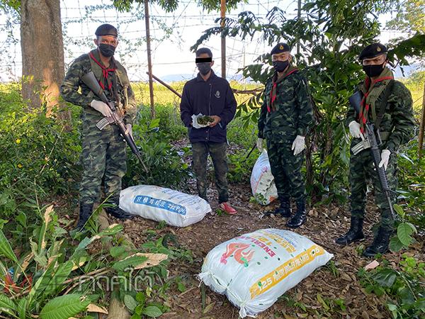 รวบตัวกองทัพมด 1 รายขณะขนใบกระท่อมจากรั้วชายแดนไทยมาเลย์