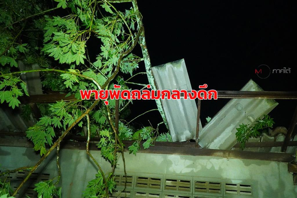 ลมหัวด้วนพัดต้นไม้ล้มทับบ้านชาวป่าบอน จ.พัทลุง พังเสียหายหลายหลังกลางดึก