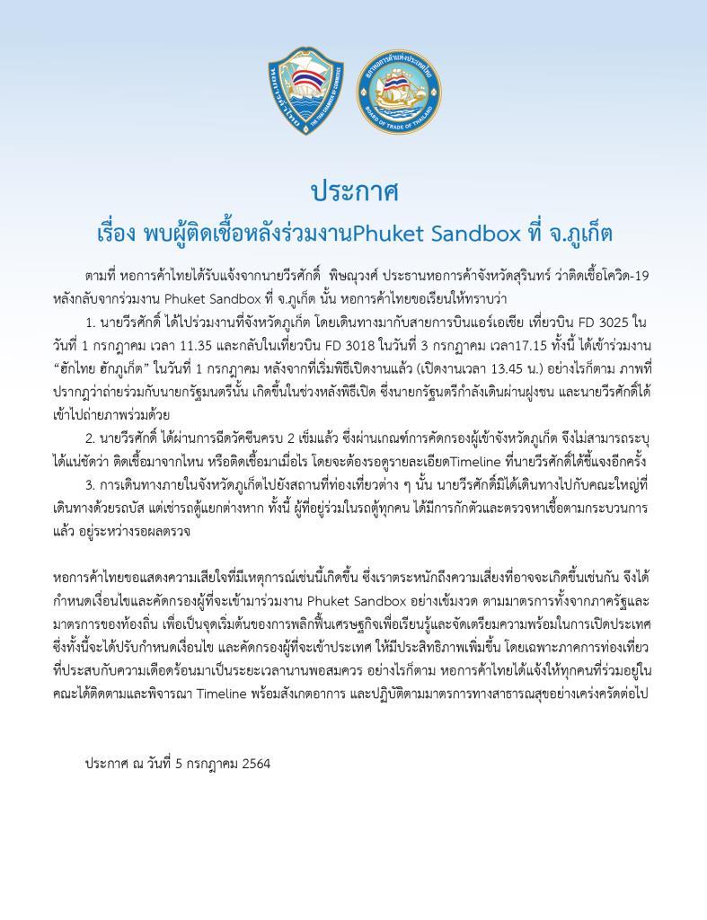 หอการค้า รอผลตรวจผู้ร่วมคณะปธ.หอการค้าสุรินทร์ ในงาน Phuket Sandbox