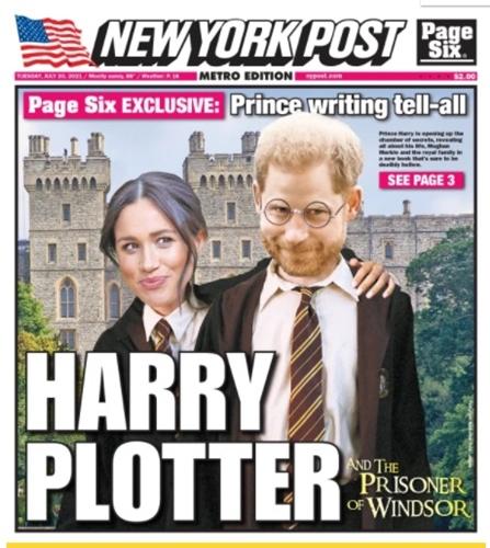 """เว็บข่าวเพจซิกส์ ซึ่งอยู่ในเครือสื่อมวลชนค่ายนิวยอร์กโพสต์ จัดทำภาพล้อเจ้าชายแฮร์รี ผู้ที่กำลังเขียนบันทึกความทรงจำแชร์ประสบการณ์ชีวิตในช่วงที่อยู่ในรั้ววังของราชวงศ์อังกฤษ ทั้งนี้ เพจซิกส์เปรียบเทียบเจ้าชายแฮร์รีกับนวนิยายเยาวชนเรื่องโด่งดังคับโลก """"แฮร์รี พอตเตอร์"""" (Harry Potter) โดยมีการเพิ่มอักษร L เข้าไป กลายเป็นชื่อฉายาเรียกเจ้าชายแฮร์รี ว่า Harry Plotter หรือก็คือเจ้าชายแฮร์รีเป็นนักแต่งนิยาย ซึ่งนิยายไม่ใช่ความจริง และมีพระชายาเมแกนอยู่เบื้องหลัง"""