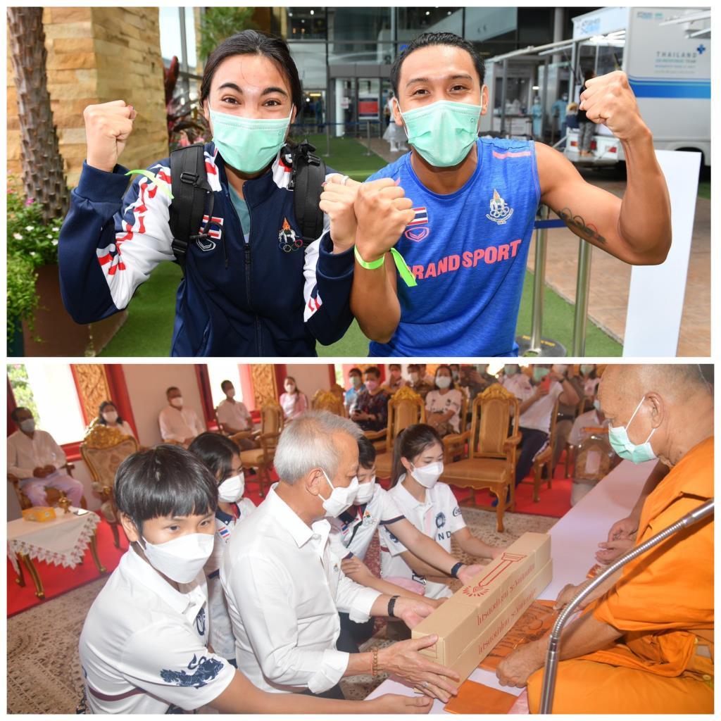 """""""น้องเทนนิส"""" นำทัพนักกีฬาไทยถวายเทียนพรรษา - กกท. ต้อนรับนักกีฬาว่ายน้ำ กลับถึงไทย"""