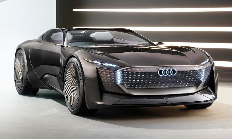 Audi Skysphere Concept ใหม่ ต้นแบบรถโรดสเตอร์ไฟฟ้ายืดฐานล้อได้