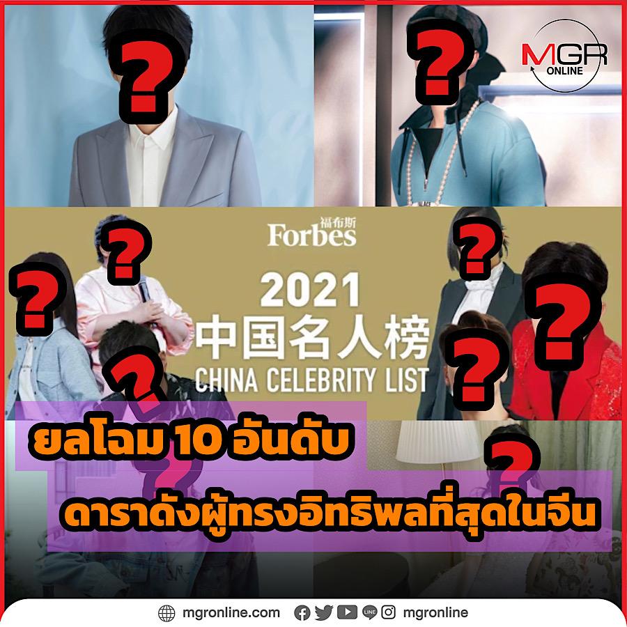 ยลโฉม 10 อันดับดาราดังผู้ทรงอิทธิพลที่สุดในจีนจาก Forbes China Celebrity List ประจำปี 2021