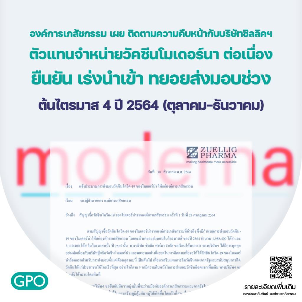 องค์การเภสัชกรรม เผยวัคซีนโมเดอร์นา 1.95 ล้านโดส ล็อตแรกเข้าไทยต้นไตรมาส 4 ปีนี้