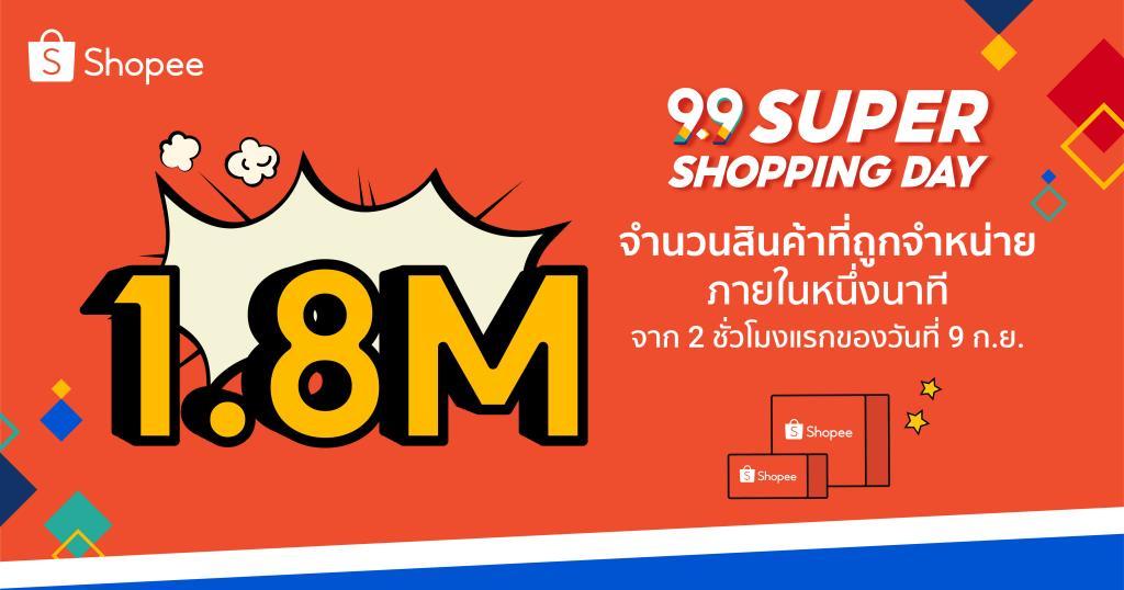 'Shopee 9.9 Super Shopping Day' ขายสินค้า 1.8 ล้านชิ้นภายในหนึ่งนาที