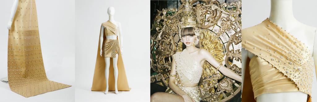 ชุดไทยสีทองที่ออกแบบอย่างงดงาม