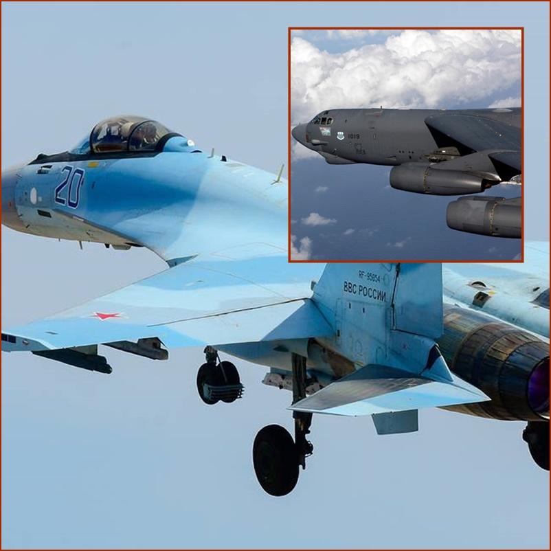 """หลังเครมลิน-ปักกิ่งบินเฉียดรัฐอะแลสกาหลายหน """"สหรัฐฯ"""" ส่ง B 52H บินใกล้พรมแดนรัสเซีย แต่เจอ SU-35S ประกบ"""