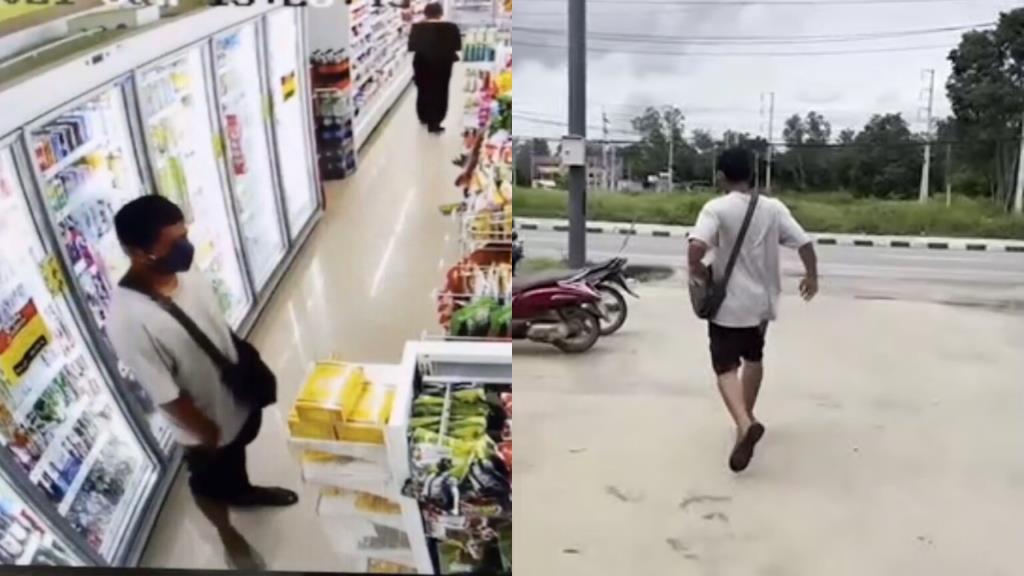 เผยคลิปเตือนภัย! หนุ่มแสบขโมยเบียร์ร้านสะดวกซื้อพบเบียร์เต็มตะกร้ารถ แถมขู่จะยิงพนักงาน (ชมคลิป)