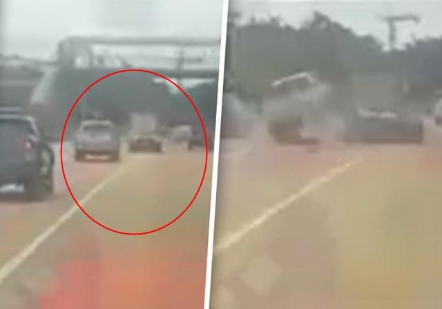 เปิดคลิปอุบัติเหตุ กระบะตำท้ายรถหรู ถกสนั่นใครผิด เหตุลัมโบร์กินีเปลี่ยนเลนเส้นทึบ