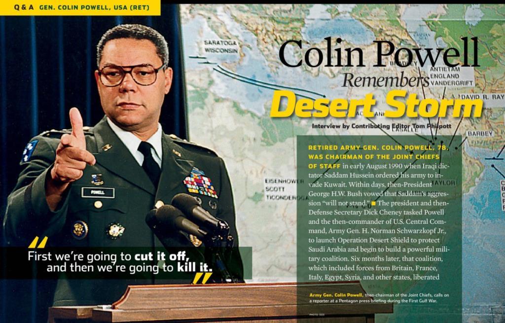 """""""คอลลิน พาวเวลล์"""" คนนำกองทัพสหรัฐฯบุกอิรักรอบแรก"""