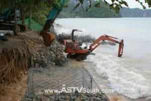 กระบี่อัดงบอีก 7 ล้านซ่อมเขื่อนกันคลื่นหาดนพรัตน์ธารา