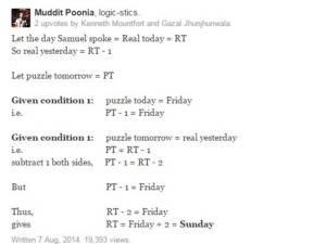 """นักคณิตศาสตร์ช่วยไข """"วันนี้คือวันอะไร?"""""""
