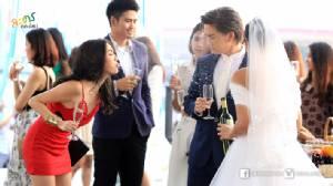 """""""กิ๊บซี่"""" บุกป่วน พ่นไวน์ใส่หน้า กลางงานแต่ง """"สายป่าน-กอล์ฟ"""""""