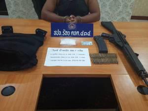 ตชด.434 พัทลุงบุกรวบผู้ต้องหาค้ายาเสพติดพร้อมอาวุธปืนสงครามตราโล่