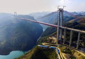 """จีนนับถอยหลังเปิด """"สะพานแขวน"""" สูงอันดับสองของโลกในกุ้ยโจว"""