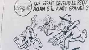 """""""ชาร์ลี เอ็บโด"""" แสบ! วาดภาพหนูน้อยลี้ภัยตายเกยตื้นหาด เย้ยโตขึ้นคงก่อคดีทางเพศในยุโรป"""