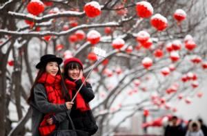 จีนเผชิญอากาศหนาวจัดทั่วประเทศ หวั่นกระทบการเดินทางฉลองตรุษจีน (ชมภาพ)