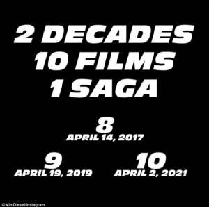 """""""วิน ดีเซล"""" เผยแล้ว Fast & Furious มี10 ภาคจบที่ปี 2021"""
